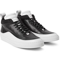 Public School Braeburn Two Tone Leather High Top Sneakers Black