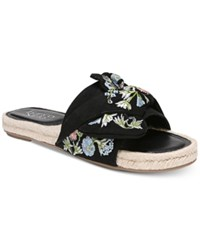 Franco Sarto Phantom Platform Espadrille Slip On Sandals Black Floral Microfiber Fabric