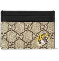 Gucci Supreme Printed Coated Canvas And Leather Cardholder Brown