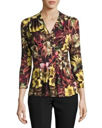 Catherine Malandrino 3 4 Sleeve Floral Print Top Multi Pattern