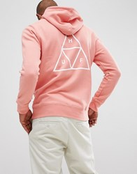 Huf Hoodie With Triple Triangle Back Print In Coral Pink