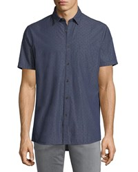 Civil Society Short Sleeve Printed Denim Chambray Shirt Indigo