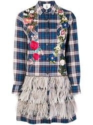 Caban Romantic Floral Embroidered Plaid Shirt Blue