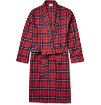 Sleepy Jones Checked Cotton Flannel Robe Red