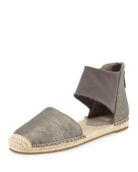 Eileen Fisher Coy Leather Espadrille Flat Pewter Silver Women's