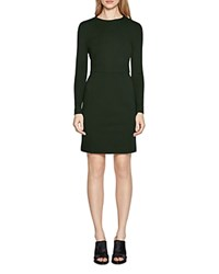 French Connection Lula Stretch Long Sleeve Dress Pine Forest Green