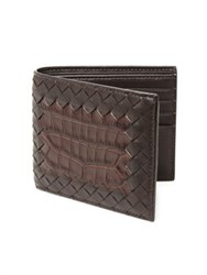 Bottega Veneta Ebanobianc Woven Leather Wallet Brown