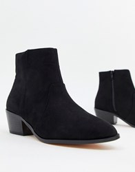 Faith Bull Western Heeled Ankle Boots In Black Black Microfibre