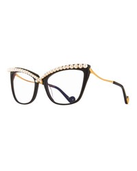 Anna Karin Karlsson Lusciousness Divine Pearl Cat Eye Optical Frames Black