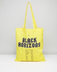 Asos Tote Bag In Yellow With Black Horizons Print Yellow