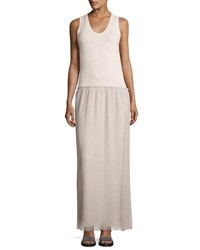 Brunello Cucinelli Pleated Skirt Long Dress Gray Brown