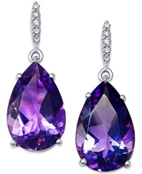 Macy's Amethyst 7 1 4 Ct. T.W. And Diamond 1 2 Ct. T.W. Drop Earrings In Sterling Silver