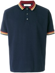 Pringle Of Scotland Knitted Trim Polo Shirt Blue