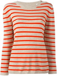 Chinti And Parker Breton Stripe Sweater Nude And Neutrals
