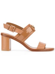 Tory Burch Chunky Heel Sandals Women Leather 8 Brown