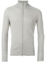Loro Piana Cable Knit Cardigan Grey