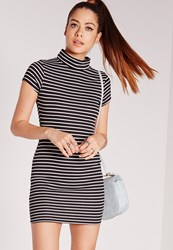 Missguided Short Sleeve High Neck Dress Black Stripe Black