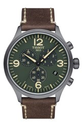 Tissot Men's Chrono Xl Leather Strap Chronograph Watch 45Mm Brown Green Black