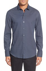 Zachary Prell 'Agerbeek' Regular Fit Long Sleeve Sport Shirt Blue