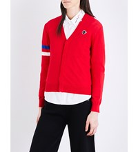 Chocoolate Stripe Detail Cotton Cardigan Red