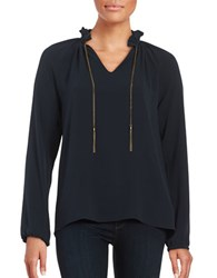 Michael Michael Kors Chain Accented Crepe Blouse New Navy