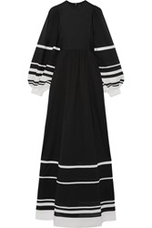 Vika Gazinskaya Striped Cotton Voile Maxi Dress Black
