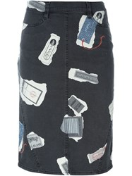 Krizia Vintage Printed Denim Skirt Grey