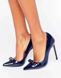 Paper Dolls Patent Tape Bow Court Heel Shoe Navy