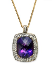 Macy's 14K Gold Necklace Amethyst 9 1 2 Ct. T.W. And Diamond 9 10 Ct. T.W. Large Pendant