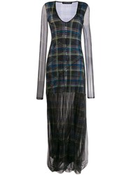 Y Project Check Sheer Overlayer Maxi Dress Green