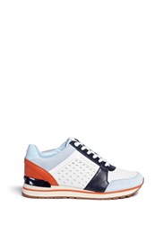 Michael Kors 'Billie' Perforated Colourblock Suede And Leather Sneakers Multi Colour