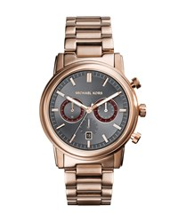 Mid Size Rose Golden Stainless Steel Pennant Chronograph Watch Michael Kors