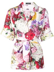 Dolce And Gabbana Belted Pyjama Style Blouse Pink
