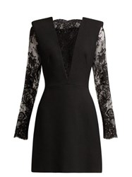 Alexander Mcqueen Sarabande Lace And Wool Blend Mini Dress Black