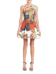 Alice Olivia Adrianne Fit And Flare Dress Retro Floral