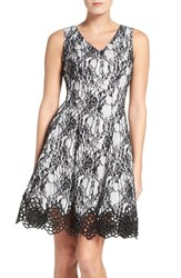 Chetta B Women's Lace Fit And Flare Dress