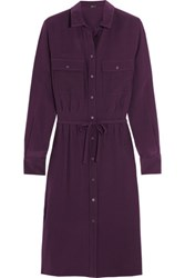 Joseph Caron Silk Shirt Dress Plum