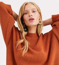 Monki Oversized Midi Knitted Dress With Round Neck In Rust Brown