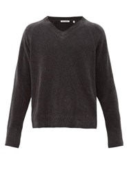 Our Legacy Anthracite V Neck Cotton Sweater Grey