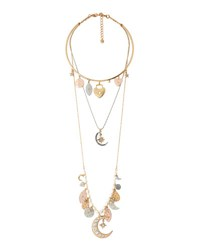 Lydell Nyc Three Row Celestial Charm Necklace Multi