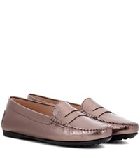 Tod's Gommino Leather Loafers Metallic