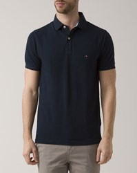Tommy Hilfiger Navy Collar Revers Logo Polo Shirt Blue