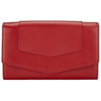 John Lewis Emily Leather Extra Large Flap Over Purse Red