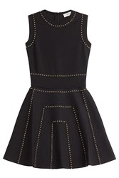 Valentino Studded Flared Mini Dress Black