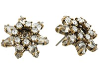 Marc Jacobs Charms Tropical Pointy Strass Flower Studs Earrings Crystal Antique Gold