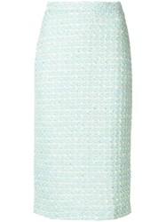 Alessandra Rich Boucle Pencil Skirt Green