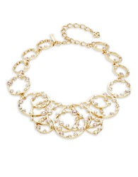 Oscar De La Renta Crystal Accented Textured Ring Statement Necklace White