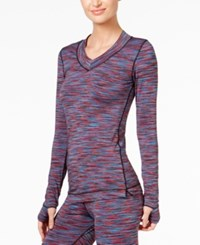 Cuddl Duds Flex Fit Long Sleeve V Neck Multi