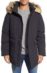Men's Schott Nyc 'Iceberg' Water Resistant Down Parka With Faux Fur Trim Black