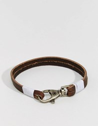 Jack And Jones Leather Bracelet With Metal Hook Black